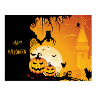 Scary Halloween Pumpkins and Full Moon Postcard