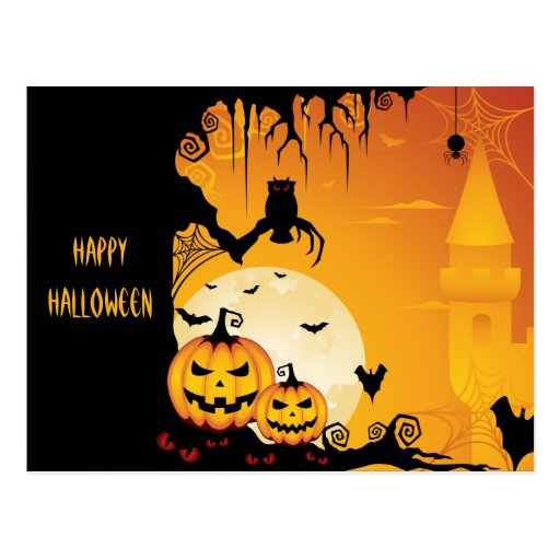 Scary Halloween Pumpkins and Full Moon Postcards