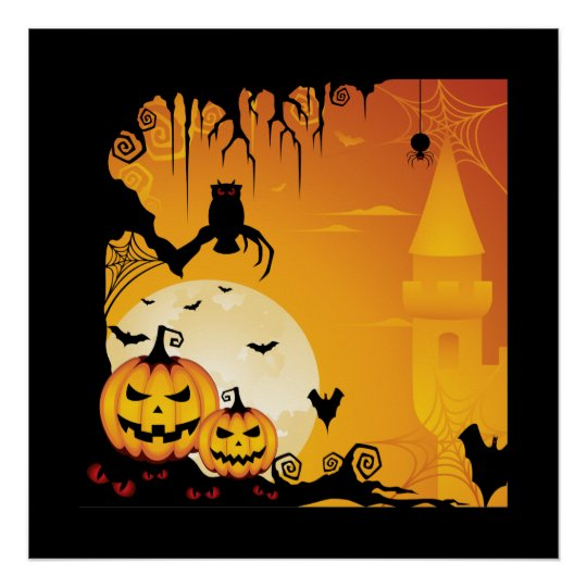 Scary Halloween Pumpkins and Full Moon Poster
