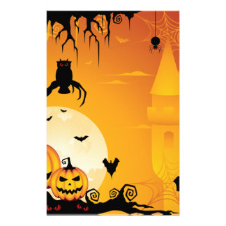 Scary Halloween Pumpkins and Full Moon Stationery