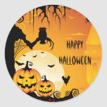 Scary Halloween Pumpkins and Full Moon Round Sticker