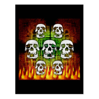 Scary Halloween Skulls Postcard