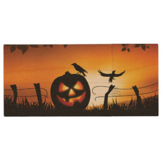 Scary Halloween Themed Background Wood USB 2.0 Flash Drive