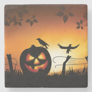 Scary Halloween Themed Background Stone Coaster