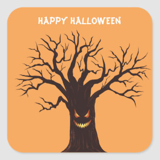 Scary Halloween Tree Square Sticker