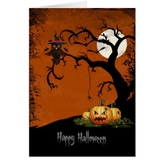 Scary Halloween Tree With Pumpkins Greeting Card