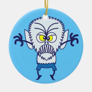 Scary Halloween Werewolf Emoticon Round Ceramic Decoration