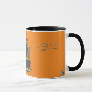 Scary Halloween Witch Cat Frog Kettle Brew Design Mug