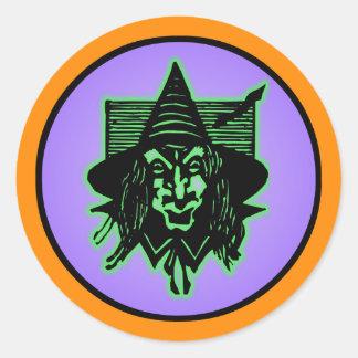 Scary Halloween Witch Classic Round Sticker