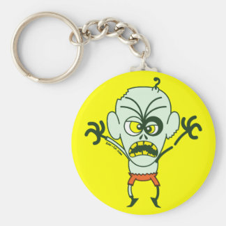 Scary Halloween Zombie Emoticon Basic Round Button Key Ring