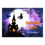 Scary Haunted Castle Flying Witch Halloween Party Personalized Invitation