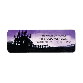 Scary Haunted House Halloween Return Address Label