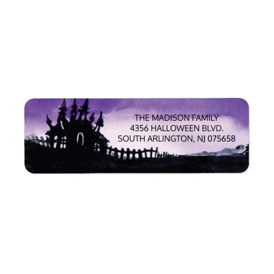 Scary Haunted House Halloween Return Address Label