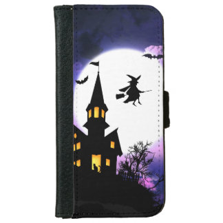 Scary Haunted House Happy Halloween iPhone 6 Wallet Case