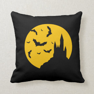 Scary Haunted House with Bats Happy Halloween Cushion