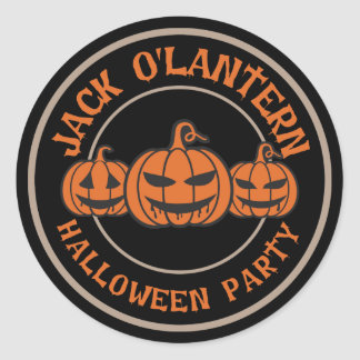 Scary Jack O' Lantern. Halloween Party Classic Round Sticker