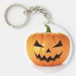 Scary Jack O Lantern Halloween Pumpkin Basic Round Button Key Ring