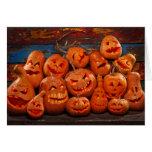 Scary Jack O Lantern Halloween Pumpkins 2 Greeting Card