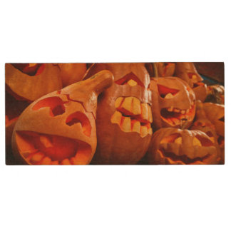Scary Jack O Lantern Halloween Pumpkins Wood USB 2.0 Flash Drive