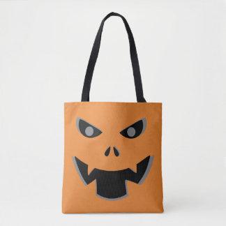 Scary Jack O Lantern Pumpkin Face Halloween Tote Bag