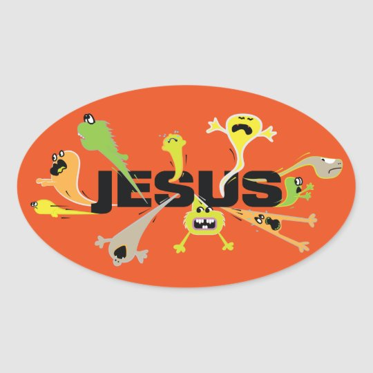 Scary Jesus Oval Sticker