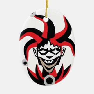 Scary joker design ceramic oval decoration