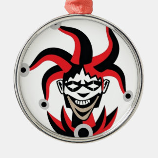 Scary joker design Silver-Colored round decoration