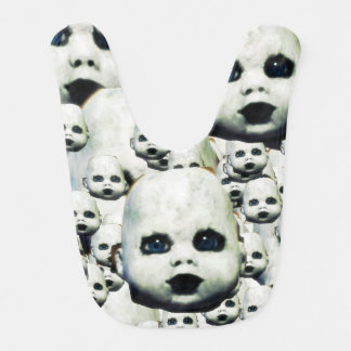 scary little doll face haunted doll products bib