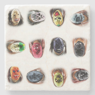 Scary Masks FUN Stone Beverage Coaster