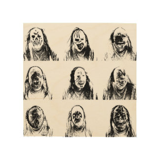 Scary Masks Wood Print