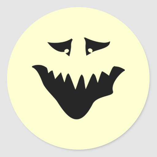 Scary Monster Face. Black. Round Sticker