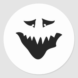 Scary Monster Face. Black. Classic Round Sticker