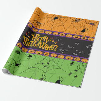 Scary Orange Green Halloween Spider Webs Wrapping Paper
