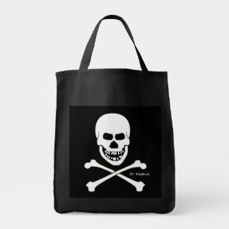 Scary Pirate Skull & Crossbones Halloween or Book Grocery Tote Bag
