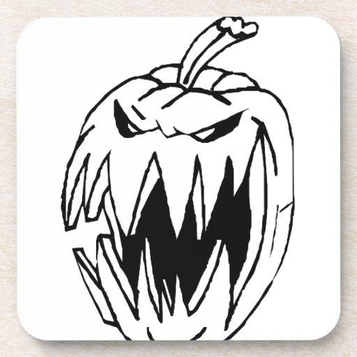 Scary pumpkin drink coaster