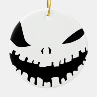 Scary Pumpkin Face in Black & White Round Ceramic Decoration