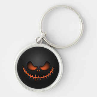 Scary Pumpkin Face Silver-Colored Round Key Ring