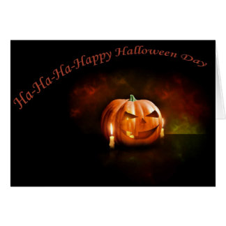 Scary Pumpkin Happy Halloween Day Card