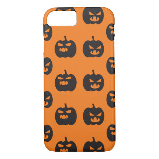 Scary pumpkins faces orange background Halloween iPhone 7 Case