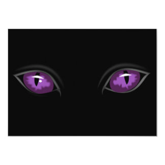 Scary Purple Eyes in Dark of Night Halloween Party 11 Cm X 16 Cm Invitation Card