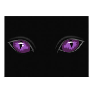 Scary Purple Eyes in Dark of Night Halloween Party Personalized Invites
