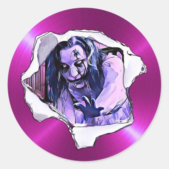 Scary Purple Zombie Girl Halloween Stickers