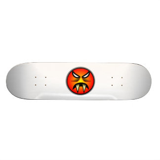 Scary Round & Orange Evil Devil Face with Fangs 21.6 Cm Skateboard Deck