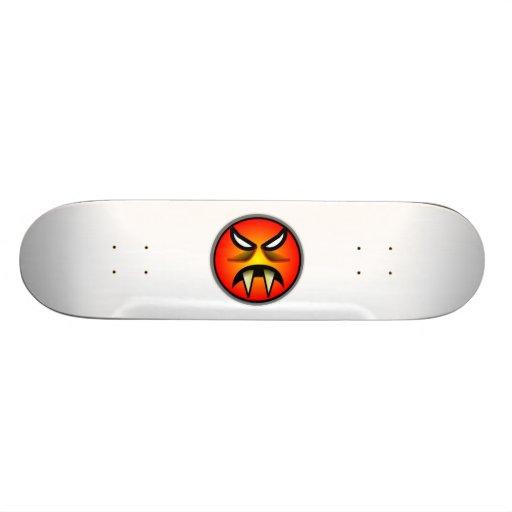 Scary Round & Orange Evil Devil Face with Fangs Skate Board Decks
