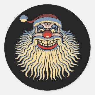 Scary Santa Clown Classic Round Sticker