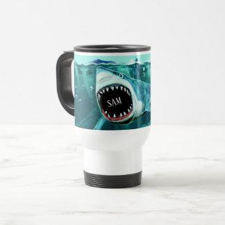 Scary Shark custom name mugs