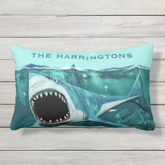 Scary Shark custom name throw pillows
