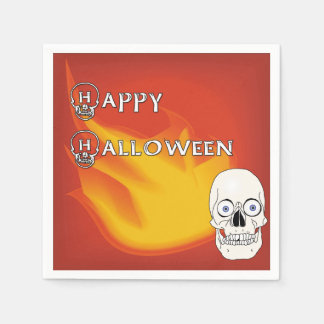 Scary Skull with Red and Yellow Ablaze Background Paper Serviettes