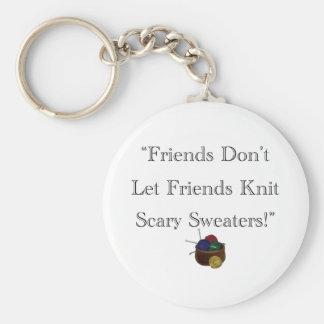 Scary Sweaters! Basic Round Button Key Ring