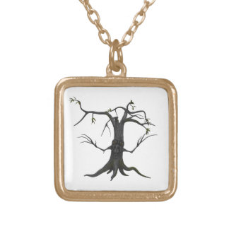 Scary Tree Gold Finish Square Necklace